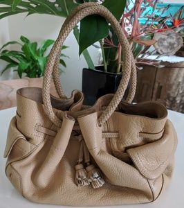 Cole Haan tan pebbled leather hand bag boho GUC